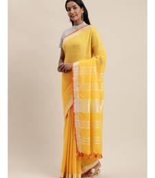 Yellow Pure Linen Solid Bhagalpuri Saree