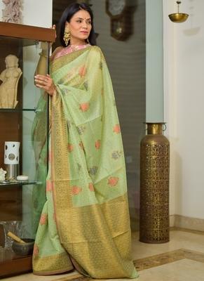 Light Green Cotton Traditional Saree
