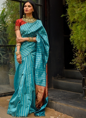 Sky Blue Polly Silk Designer Party Wear Saree