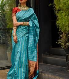 Sky Blue Polly Silk Designer Party Wear Saree