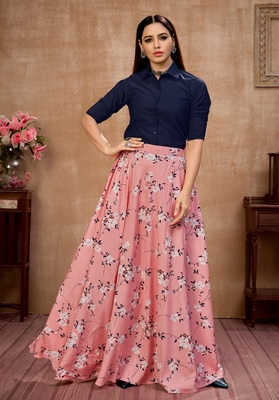 Pink plain silk Semi Stitched bridal lehenga