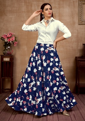 Navy-blue plain silk Semi Stitched bridal lehenga
