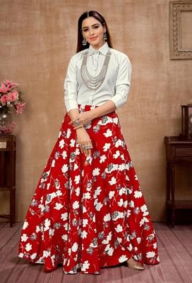 Red plain silk Semi Stitched bridal lehenga
