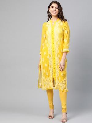 Yellow hand woven georgette chikankari-kurtis