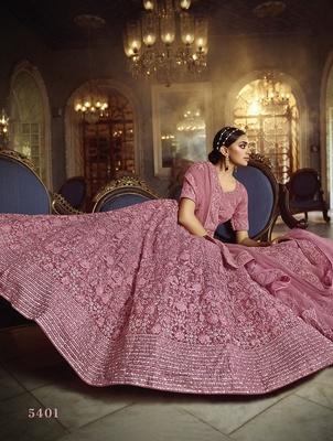 Pink embroidered net semi stitched lehenga