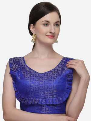 Printed Blue Jacquard Blouse With V Neck