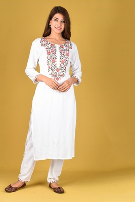 White embroidered rayon salwar