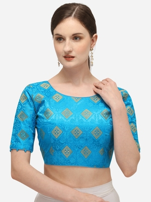 Jacquard Light Blue Blouse With Round Neck