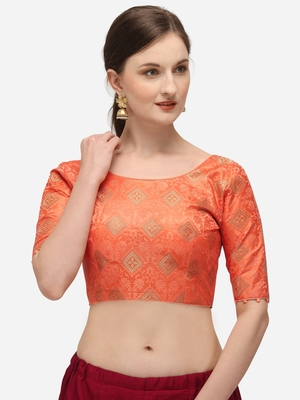 Jacquard Peach Blouse With Round Neck