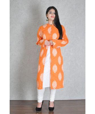 Orange Cotton Printed Jaipuri Kurta