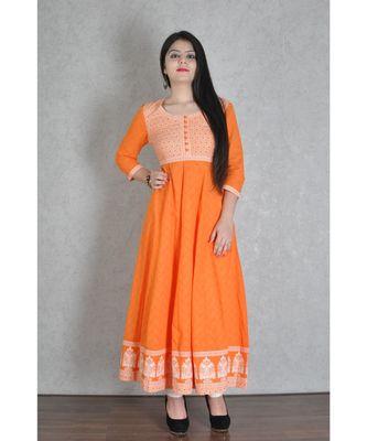 Orange Cotton Printed Jaipuri Anarkali Kurta