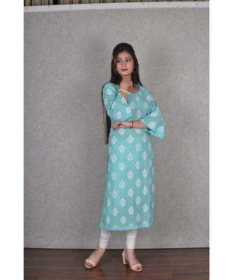 Turquoise Blue Cotton Jaipuri Kurta