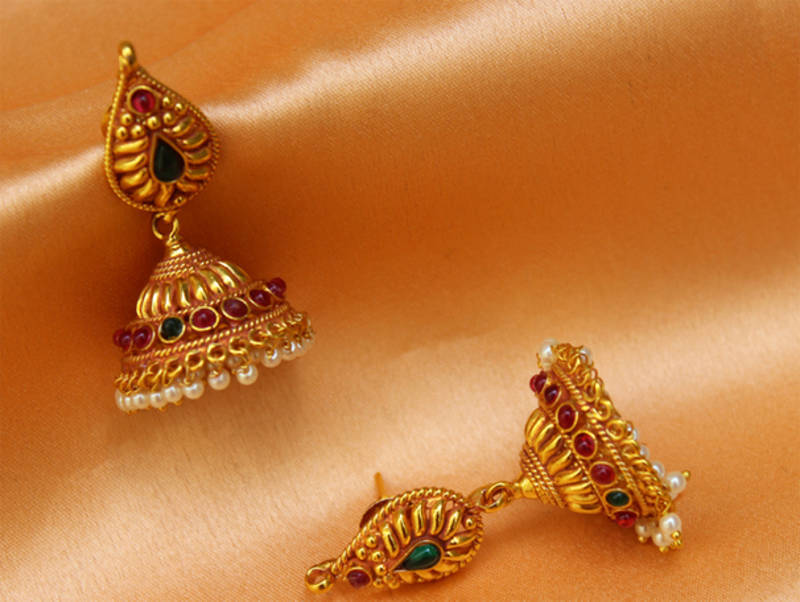 Gorgeous One Gram Gold Plated Real Pu Jhumka
