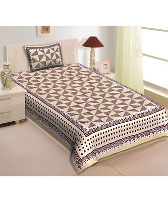 Single Bedsheet_ (1+1) Traditional single cotton bedsheet with single pillow cover (60 X 90)
