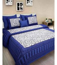 Premium Cotton Flat Bedsheet Rajasthani Jaipuri Traditional Queen Size Double Bed Sheet with 2 Pillow Covers (84 X 92)