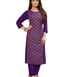 Purple embroidered crepe ethnic-kurtis