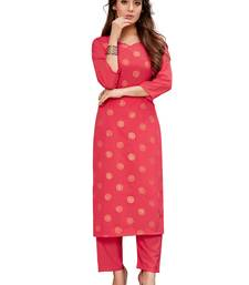Peach embroidered crepe ethnic-kurtis