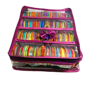 Atorakushon ® Purple Satin 4 Rods Bangle Box Ring Earring Box Saree Cover Blouse Cover Travelling Wedding  Kit For Women