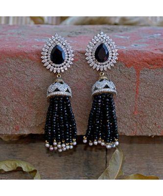 black diamond designer classy royal crystal diamond jhumki