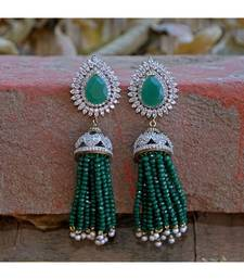 green diamond designer classy royal crystal diamond jhumki