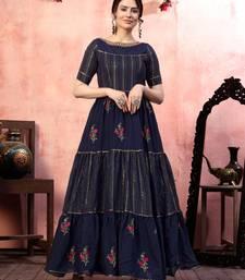 Navy-blue sequins silk Evening Long Gown