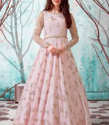Pink foilage print net Long Gown Evening