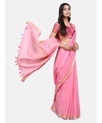 Unitex Fashion Premium Quality Pink Plain cotton LinenSAREE