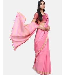 Unitex Fashion Premium Quality Pink Plain cotton LinenSAREE