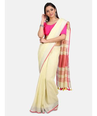 Unitex Fashion Premium Quality Butter Yellow Plain Cotton LinenSAREE