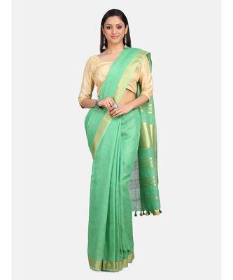 Unitex Fashion Premium Quality Dark Mint green Cotton LinenSAREE