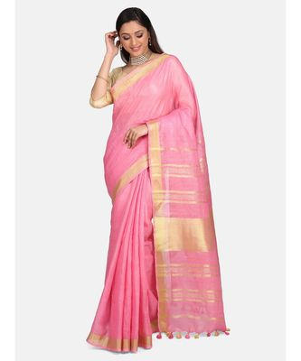 Unitex Fashion Premium Quality Pink cotton linenSAREE