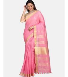 Unitex Fashion Premium Quality Pink cotton linenSAREE