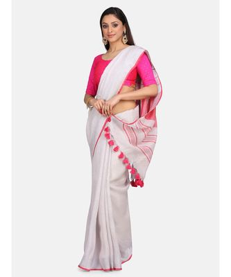 Unitex Fashion Off white with pink border linenSAREE