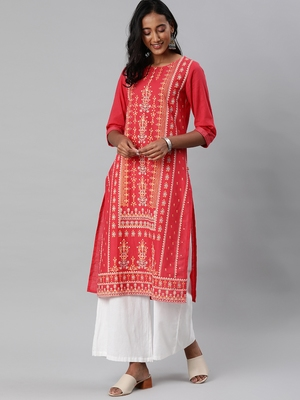 Coral printed cotton embroidered-kurtis
