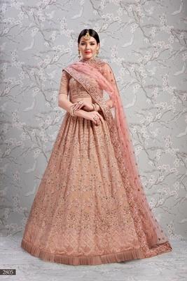 Rose embroidered georgette semi stitched lehenga