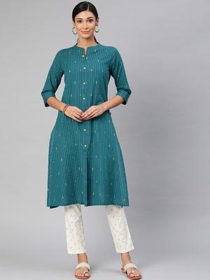 Teal woven cotton embroidered-kurtis