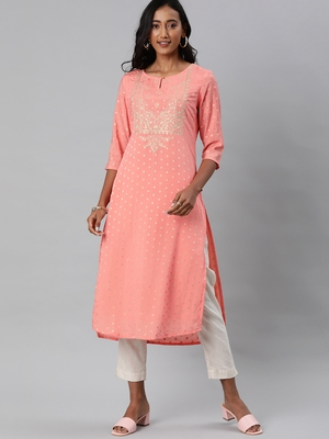 Pink embroidered chanderi embroidered-kurtis