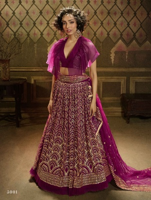 Wine embroidered net semi stitched lehenga