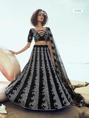 Black embroidered net semi stitched lehenga