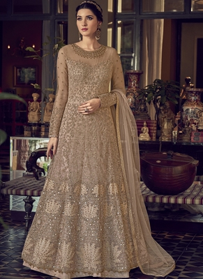 Beige Butterfly Net Wedding Salwar Kameez