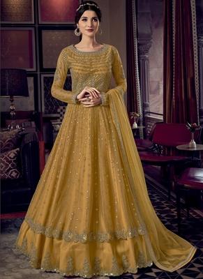 Yellow Butterfly Net Wedding Salwar Kameez