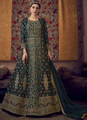 Dark Green Butterfly Net Wedding Salwar Kameez