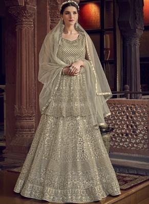 Off White Butterfly Net Wedding Salwar Kameez