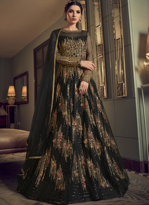Black Butterfly Net Wedding Salwar Kameez