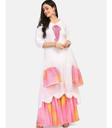 white kurti pink  chikankari thread work leheriya pink garara nd dupatta with  leheriya border