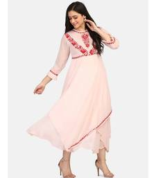 Peach colour long frock with red thread chikankari work kurti
