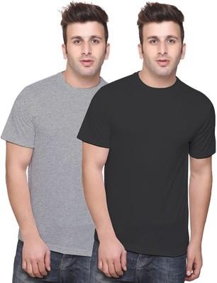 Multicolor plain cotton men-tshirts in Black Grey