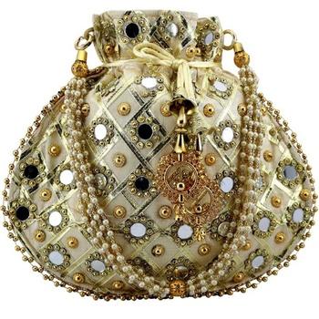 Rajasthani Jaipuri Ethnic Handcrafted Embellished Beaded Potli Wristlets Bags For Women's - Gold