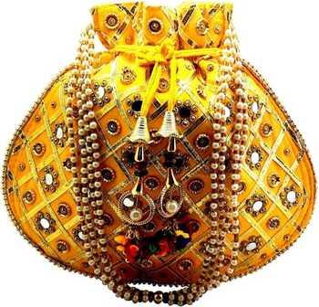 Rajasthani Jaipuri Ethnic Handcrafted Embellished Beaded Potli Wristlets Bags For Women's - Yellow