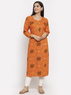 Orange printed rayon long-kurtis